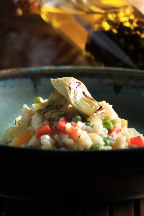 Italian Blog Arichoke and green peas risotto for Italian article